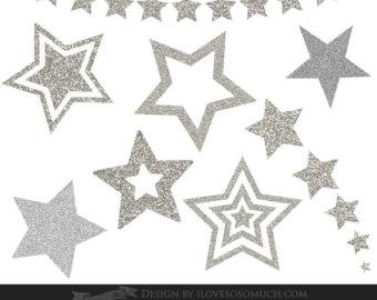 Silver clipart silver glitter star Stars Instant Clip CA024 Star