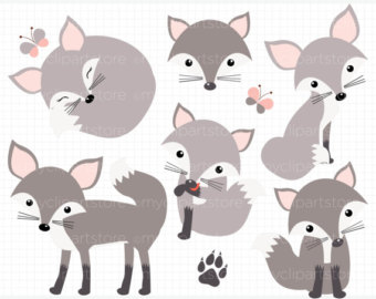 Silver Fox clipart Forest Animals clip / silver