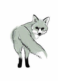 Red Fox clipart silver fox Art creatures fox Screenprint Fox