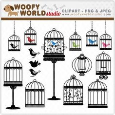 Simple clipart bird cage DOWNLOAD INSTANT art black Chic