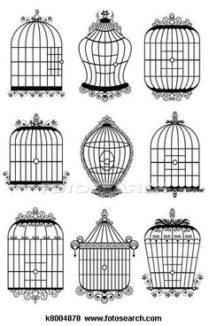Simple clipart bird cage Illustrations Stock branches and and