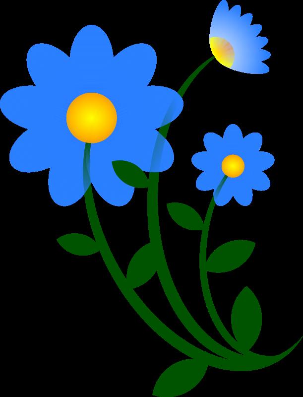Simple clipart blue flower #10