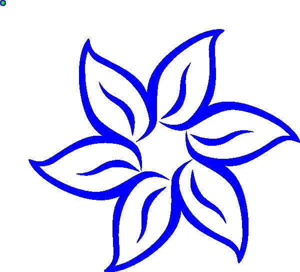 Simple clipart blue flower #9