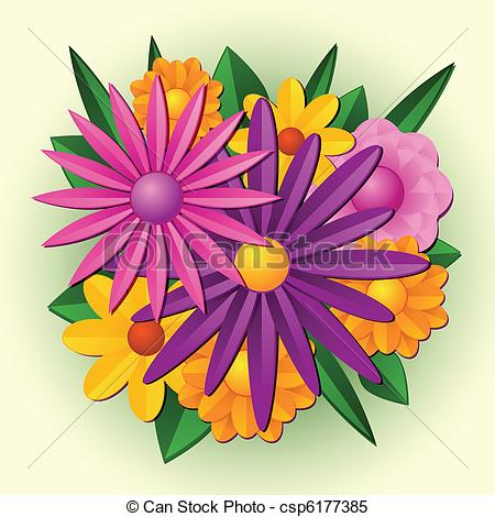 Bright clipart spring flower Bouquet Vector of Simple stylized