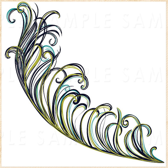 Photoshop clipart peacock tail Sale FishScraps Invitation Peacock Feather