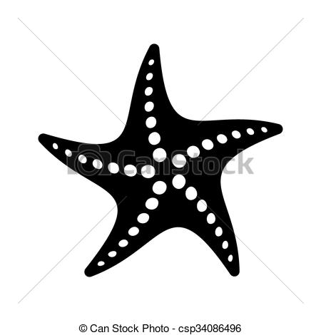 Simple clipart starfish Simple csp34086496 Black vector icon