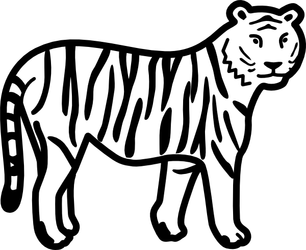 Simple clipart tiger Clker Standing Looking Watching Download