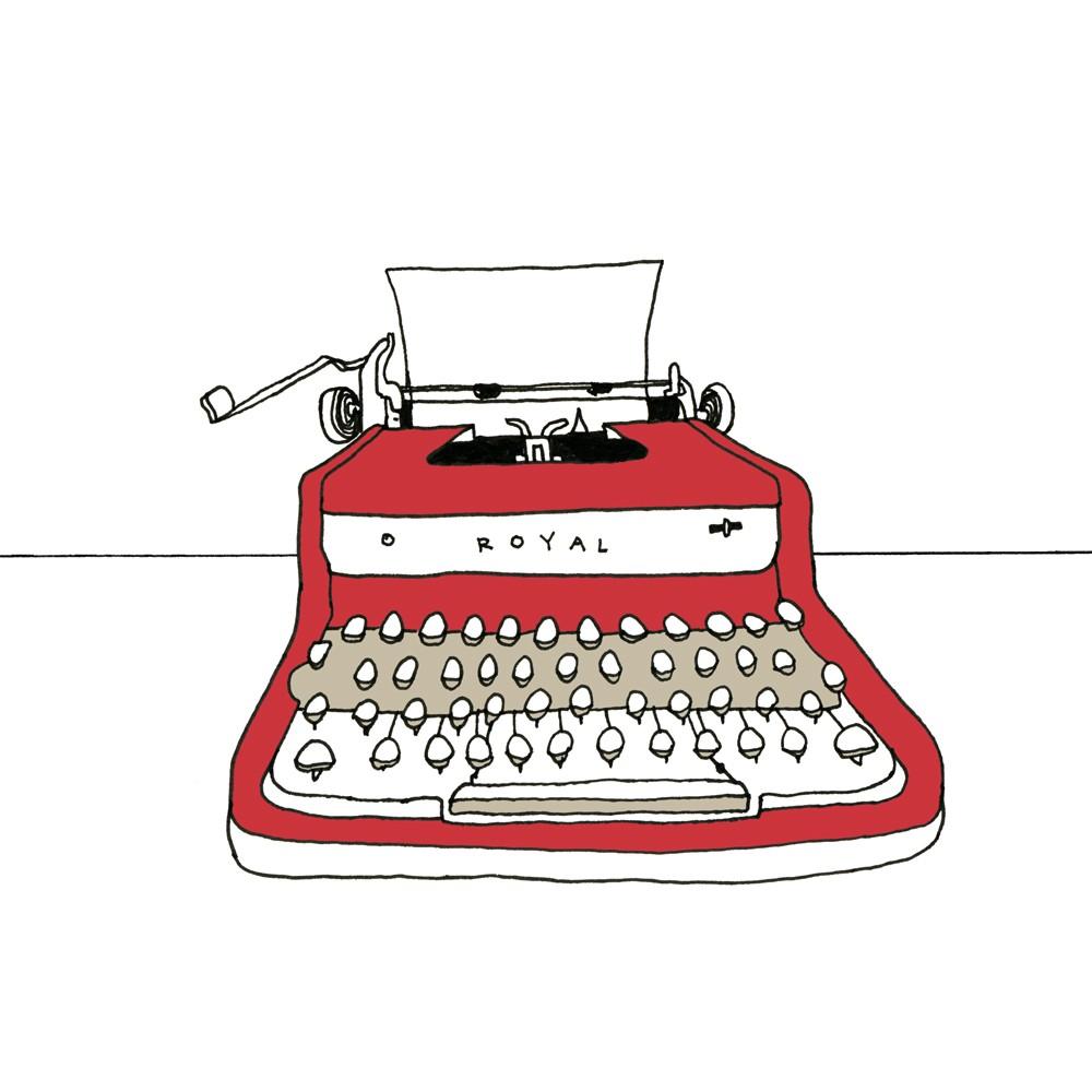 Typewriter clipart simple Illustation Royal Typewriter print Red
