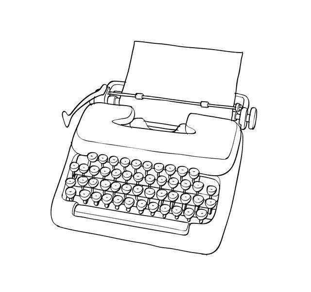 Drawn typewriter clipart White images drawing illustrations typewriter