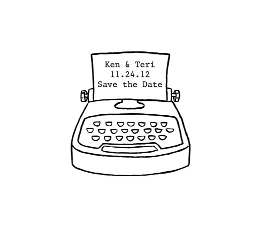 Typewriter clipart simple Save date rubber custom save