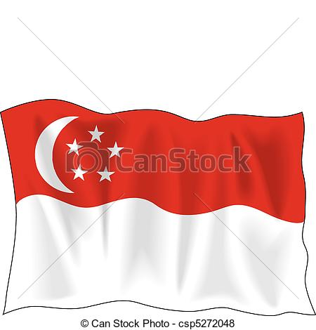 Singapore clipart Vector isolated  Flag of