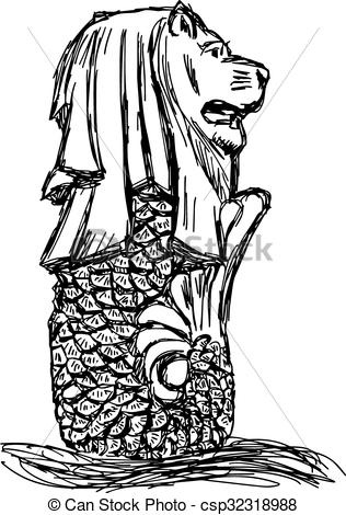 Singapore clipart Hand white sketch drawn