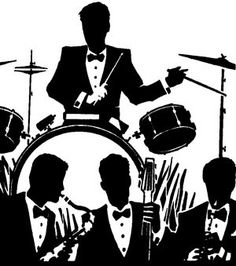 Singer clipart big band Art clip Silhouettes Jazz Silhouettes