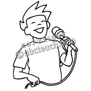 Singer clipart black and white Boy Clip Sing Singing Art: