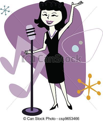 Singer clipart jazz singer Clip Retro of female Jazz