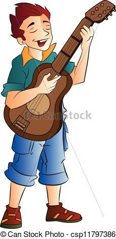 Singer clipart logo Illustration Vector and Guitarist illustration
