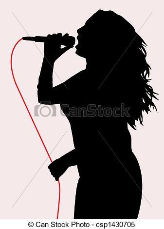 Singer clipart logo Vector Female female singing