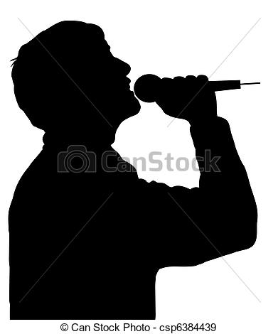 Singer clipart logo Of Silhouette singing with