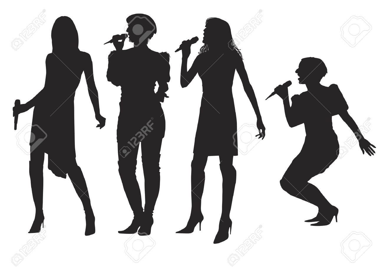 Microphone clipart singing group Silhouette Silhouette Clipart Girl Clipart