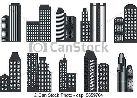 Single clipart skyscraper Of  Silhouettes set csp15859704