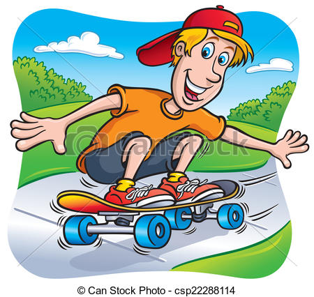 Skateboard clipart adolescent Clipart On Teen Cartoon csp22288114