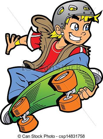Drawn skateboard guy Clipart Boy Jump Vector