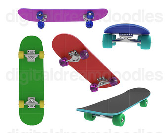 Skateboard clipart red Clipart Skateboard Graphic Etsy Skateboard