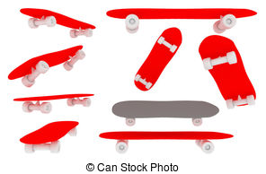 Skateboard clipart red  455  Illustrations Skateboard