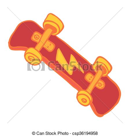 Skateboard clipart red  cartoon Vector Clipart doodle