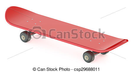 Skateboard clipart red Csp29688011 background isolated  Stock