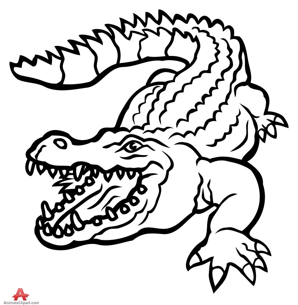 Monochrome clipart alligator #3