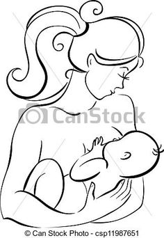 Mother And Baby clipart line art Baby logo clipart collection