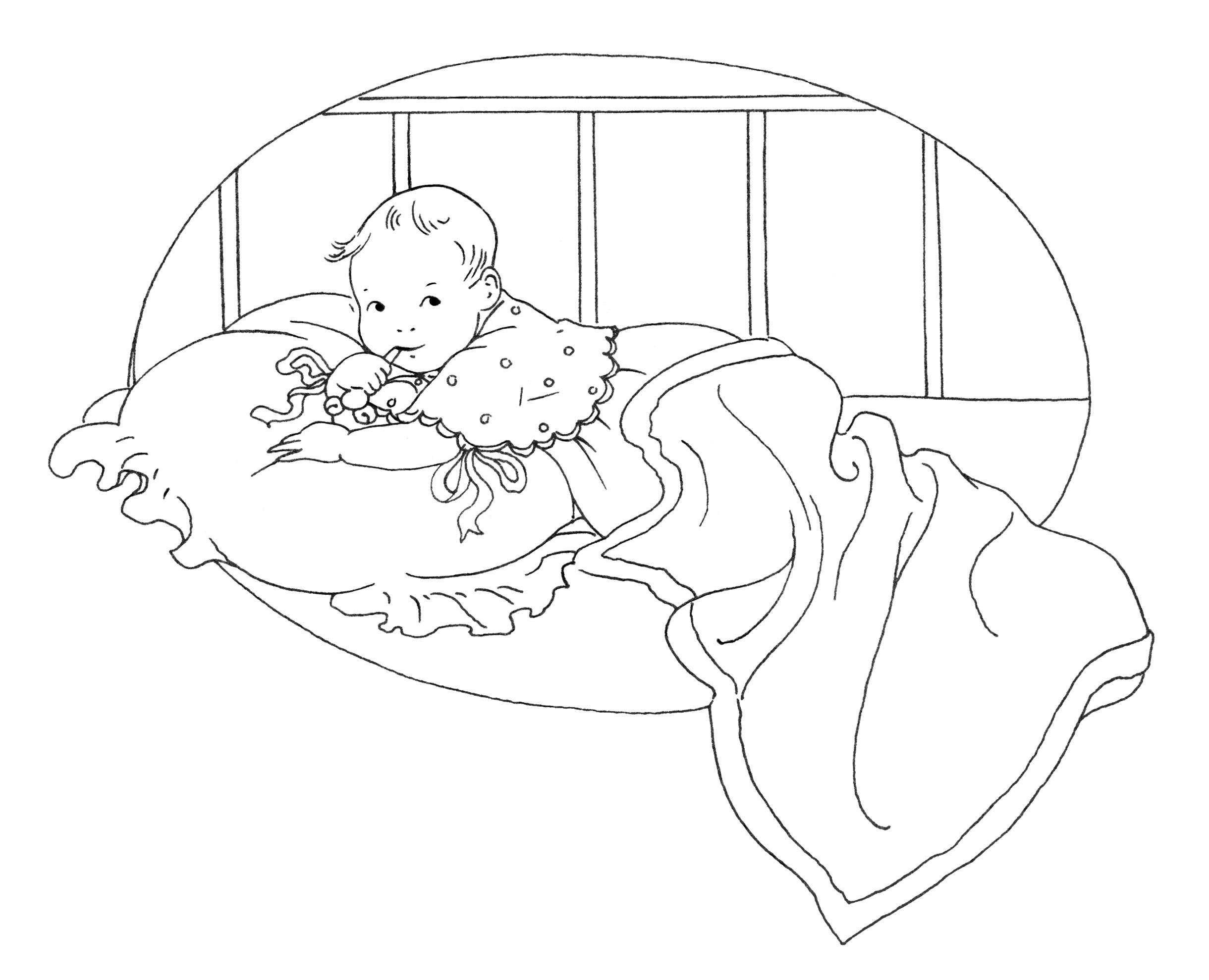 Sketch clipart baby Baby clip vintage clip baby