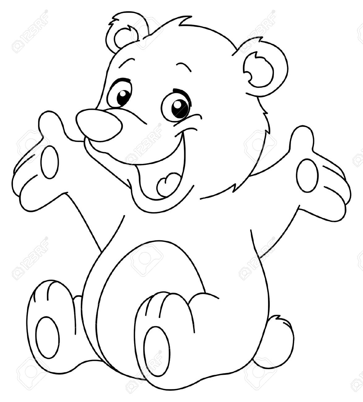Teddy clipart coloring page #9