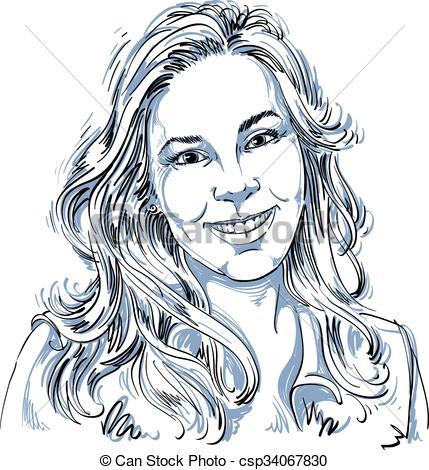 Sketch clipart beautiful lady Beautiful vector image illustration woman