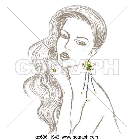 Sketch clipart beautiful lady Beautiful and Clipart earring lady