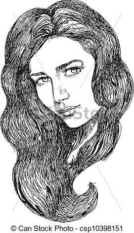 Sketch clipart beautiful lady Csp10398151 Sketch Vector Face female
