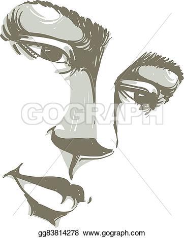 Sketch clipart beautiful lady Emotions skin Clipart melancholic drawn