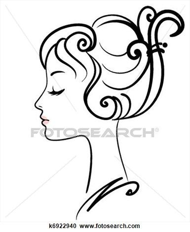 Sketch clipart beautiful lady View vector girl face Clip
