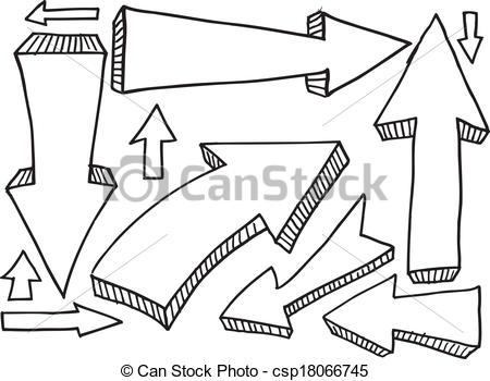 Arrow clipart doodle Design Doodle Set Sketch csp18066745