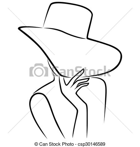 Sketch clipart face That wide Vector brim brim