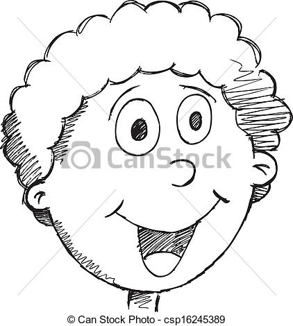 Sketch clipart face Vector Face csp16245389 Doodle Drawing