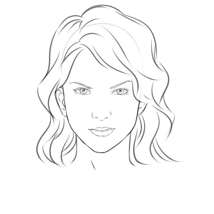 Sketch clipart female face Face: on Draw Girl How
