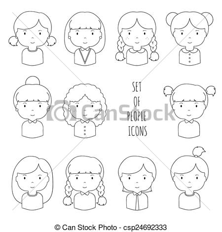 Sketch clipart female face Drawn line Funny Vectors faces