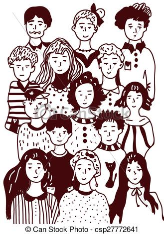 Sketch clipart group person Of sketch people illustration style