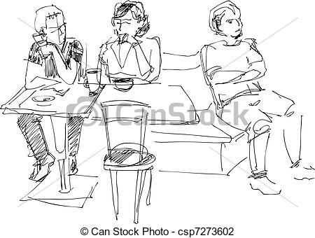 Sketch clipart group person Group a of cafe Illustration