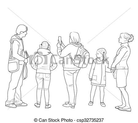 Sketch clipart group person Of the of  of