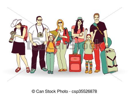 Sketch clipart group person Tourists people tourists on isolate