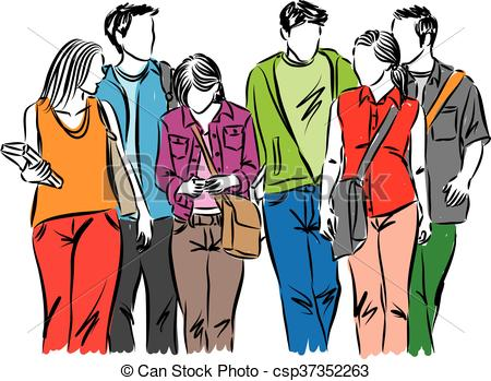 Sketch clipart group person STUDENTS STUDENTS OF Vector Art