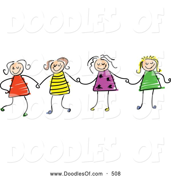 Sketch clipart holding hand Figure on of Girls HandsSister